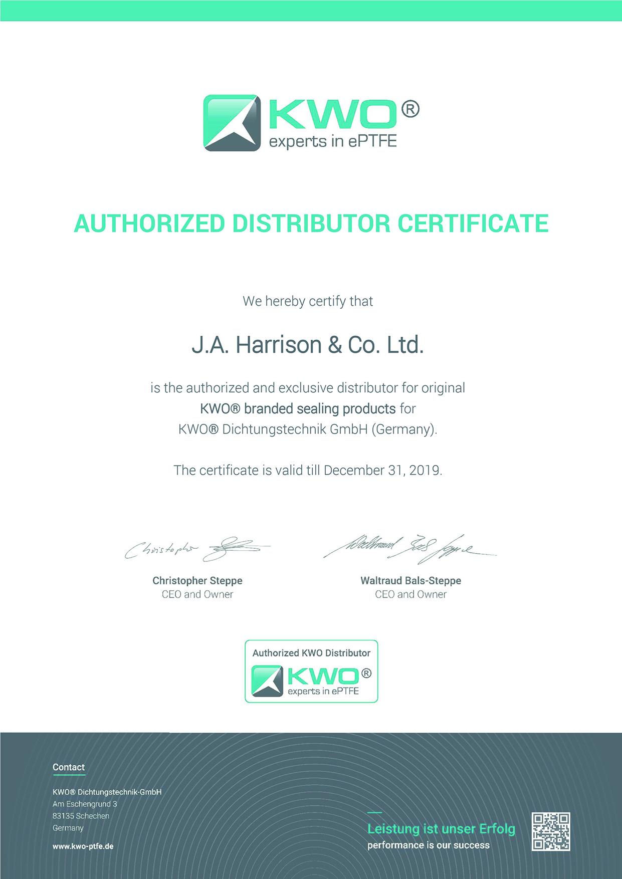 1KWO Certificate J.A. Harrison